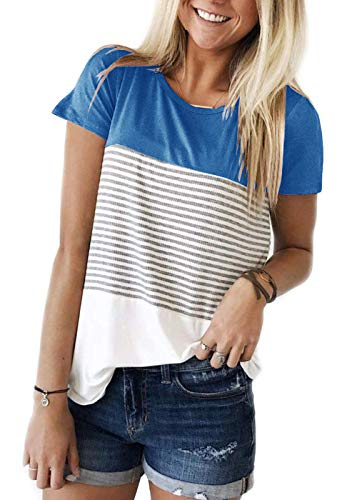 TWKIOUE Womens Short Sleeve Round Neck T Shirts Color Block Striped Casual Blouses Tops Light Blue M ()