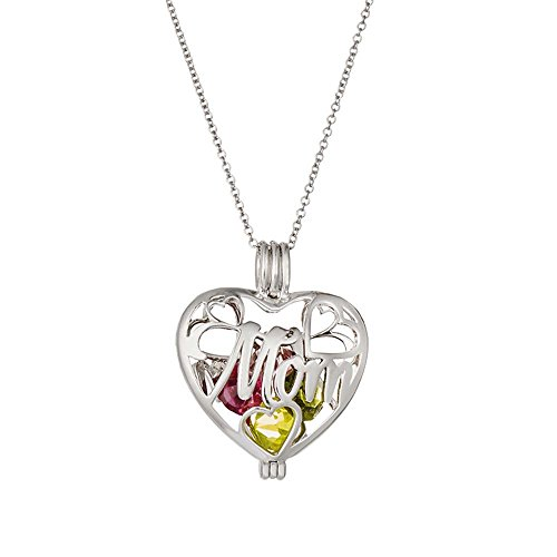 Sterling Silver Personalized 6mm Round Simulated Birthstone Mom Heart Locket (16