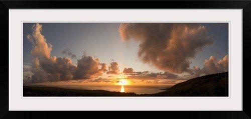 GreatBIGCanvas ''Sunset Over The Sea, Kona Coast, Kealakekua Bay, Hawaii'' Photographic Print with black Frame, 36'' X 13'''' by greatBIGcanvas
