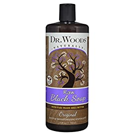 Dr. Woods Raw African Black Liquid Soap with Organic Shea Butter 104 Ultra moisturizing cleanser All natural and eco-friendly Helps clear skin blemishes