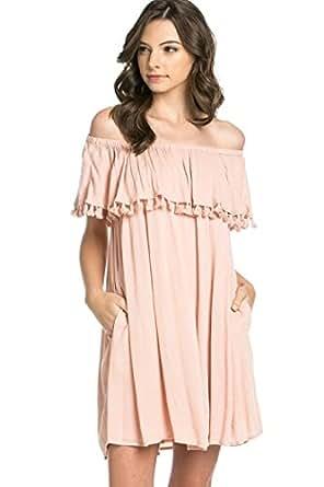 Ever77 Women's Pom Pom-Trimmed Off Shoulder Pocket Dress/TD1095MI-Blush,S