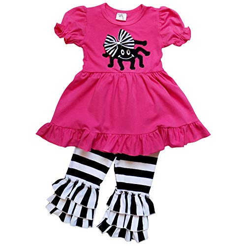 So Sydney Girls Halloween Pumpkin, Candy Cat - 2 Piece Ruffle Pants Outfit (L (5), Spider Hot Pink Black Stripe) -
