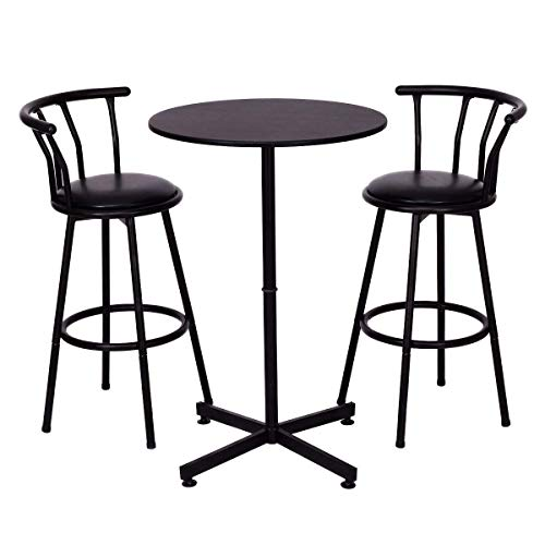 Casart 3 Piece Bar Table Set with 2 Stools Bistro Pub Kitchen Dining Furniture Black