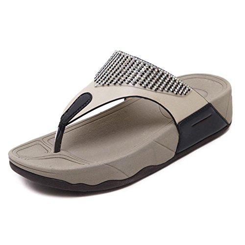 YEEY Sandalias de verano de las mujeres flip flops correas planas tanga sandalias zapatillas de playa Black