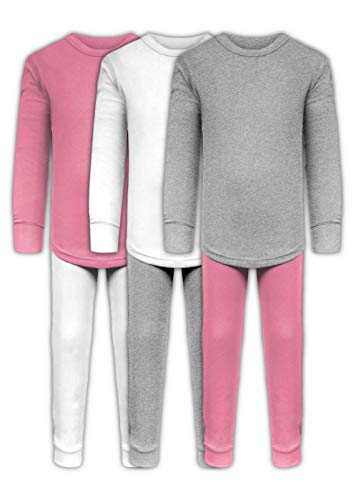 Girls Long Underwear Base Layer Sets/Long Sleeve Top - Long Pant Tights - 6 Piece Mix & Match / 3 Sets (3 Sets/6 Piece- White/Grey/Pink, - Long Sleeve Underwear Long