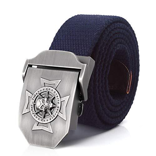 NIDAWUR Men's Canvas Skull Cross Metal Buckle Military Belt Tactical Belts for Men Male Strap Green Blue 120CM