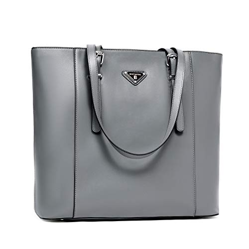 BOSTANTEN Women Briefcase Leather Laptop Tote Handbags 15.6 inch Computer Shoulder Bags Gray