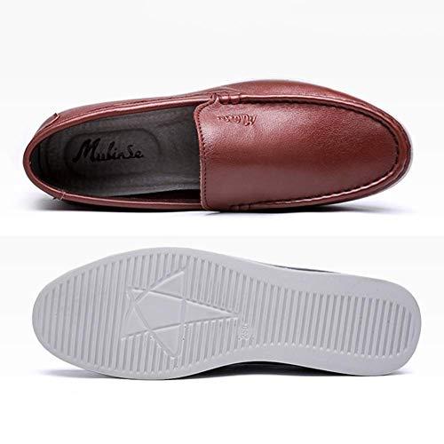 cómodos HhGold US Color Cuero Costuras Mocasines MARRÓN Marrón 9 Zapatos con Hombre Hombres para Punta Redonda Ocasionales sin para UK Hombres los Tamaño Hombres 8 de con de Cordones E4X4nxwrq1