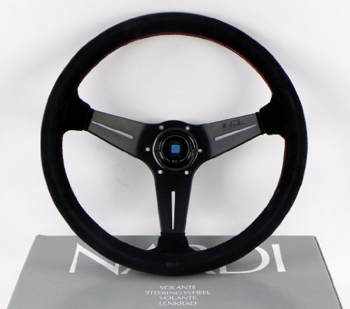 Nardi Steering Wheel - Deep Corn - 350mm (13.78 inches) - Black Suede Leather with Red Stitching - Classic Horn Button - Part # 6069.35.2094 (Leather Black Deep)