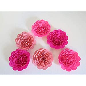 """Shades Of Pink Paper Flowers, 3"""" Roses, Set of 6, Wedding Table Centerpiece, Princess Theme Party Decorations, Ombre Pink, Fuchsia, Neon, Pastel, Bridal Shower Decor, Always In Blossom 96"""