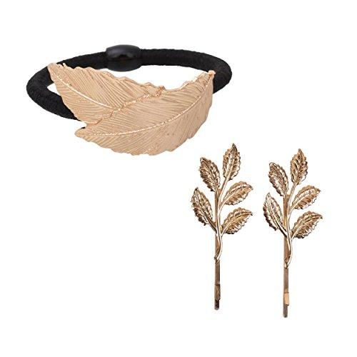 - Aaishwarya Golden Leaf Motif Hair Tie & Hairclips/Pins Combo For Women & Girls