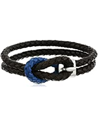 "<span class=""a-offscreen"">[Sponsored]</span>Men's Brown and Blue Genuine Leather Braided with Stainless Steel Hook Bracelet, 8"""