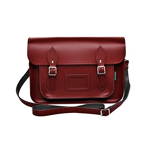 Zatchels Womens/Ladies Handcrafted Leather Satchel Bag (British Made) (17.5in) (Oxblood Red) by Zatchels