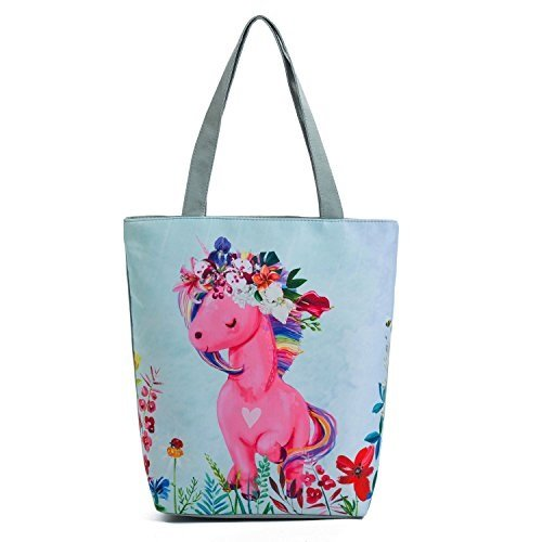 Cute Pony Canvas Tote Handbag Women Cartoon Unicorn Printed Shoulder Bag Female Flowers Beach Bag Horse Shopping (Flower Girl Canvas Tote Bag)
