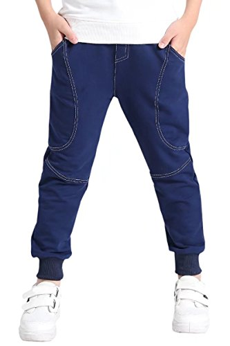AOWKULAE Kids' Cotton Fleece Active Pull On Casual Joggers Pants Sweatpants with Pockets for Big Boys Navy Blue, Age 7T-8T (7-8 Years) = Tag 140