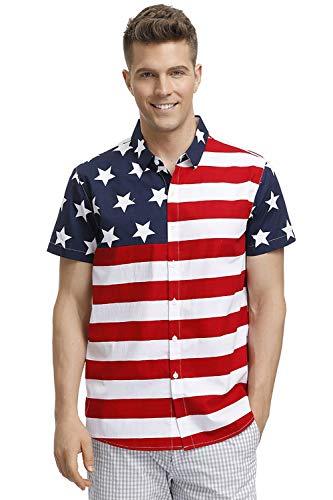 Mens Fourth of July Shirt American Flag Aloha
