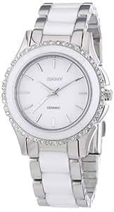 DKNY  NY8818 - Reloj de cuarzo con correa de acero inoxidable para mujer, color blanco