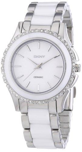 DKNY White Dial Stainless Steel White Ceramic Ladies Watch (Steel White Ceramic)