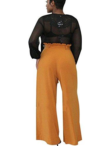 Casual Mujeres Libre Pantalon Alta Cinturón Naranja Pants De Anchos Color Primavera Elegantes Otoño Moda Sólido Tiempo Cintura Los Mujer Golpear Pantalones Casuales Con Battercake z0Rw0