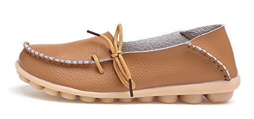 VenusCelia Damen Comfort Walking Büro Flacher Loafer Bräunen