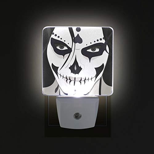 LORVIES Halloween Guy Makeup Style Plug in LED Night Light Auto Sensor Smart Dusk to Dawn Decorative Night for Bedroom, Bathroom, Kitchen, Hallway, Stairs,Baby's Room, Energy Saving, US Plug, 2PC]()