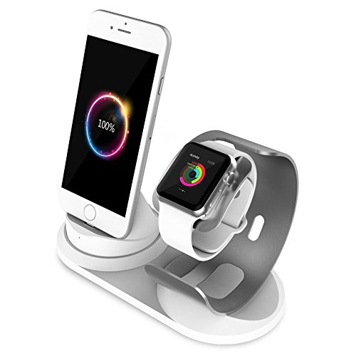 Price comparison product image Multiple Apple Watch/iphone Charging Station,Aluminum Stand 4 in 1,Silver and White