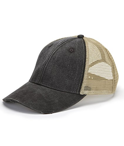 Adams mens 6-Panel Pigment-Dyed Distressed Trucker Cap(OL102)-BLACK/ TAN-OS (Solid Dyed Twill Cap Pigment)