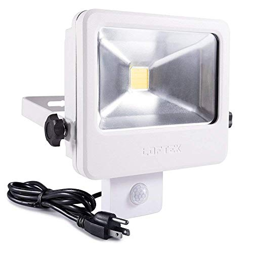 30W LED Security Light with Motion Sensor, LOFTEK Full Metal Body IP66 Waterproof Outdoor Floodlight, Automatic Sensor 3 Lighting Modes 4000lm Dusk to Dawn Light with US 3-Plug- Daylight, White