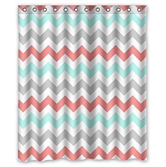 KXMDXA Coral,Light Green,Gray and White Chevron Zig Zag Pattern Waterproof Polyester Bath Shower Curtain Size 60x72 Inch (Grey Cheveron Curtains And White)