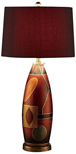 Poundex PDEX F5346 Contemporary Mosaic Oval Shaped Table Lamp, Set Of 2