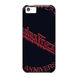 Shock-Absorbing Hard Phone Cover For Iphone 5c (Pod14129GsqA) Unique Design Colorful Judas Priest Band Pattern