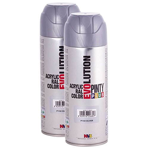 Fast Dry, Low Odor, Low VOC - Acrylic Spray Paint Pintyplus Evolution - Pack of 2 (P150 Silver)