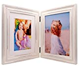 Double Folding 6x8 White Wood Picture Frame with Glass Front - Made to Display Pictures 6x8 Without Mat or 4x6 with Mat - American Class Style Antiquated - Stands Vertically on Desktop or Table Top