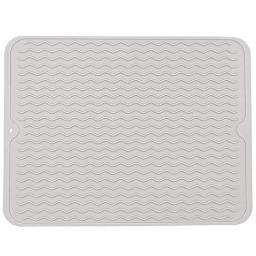 "Large Wavy Silicone Hot Pads Trivet Mats, Rubber Pot Holders Dish Drying Mat, Table Place Mat, Tableware Draining Mat, Non Slip and Heat Insulation Pads 15.7""x 11.8"" (Light Grey)"