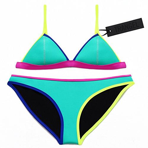 Trangel Women Neoprene Bikini In Bright Color Neon Binding Swimsuit Swimwear