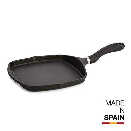 Valira Black - Plancha Premium de 26x26 cm hecha en España, aluminio fundido con antiadherente reforzado, apta para inducción: Amazon.es: Hogar