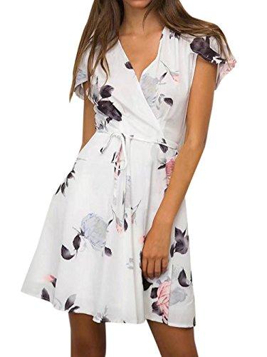 Monika Verano Mujeres Vestido con Vendaje Moda Impresión Corto Vestido de Playa Sexy Cuello V Manga Corta Vestidos de Partido Cóctel Fiesta