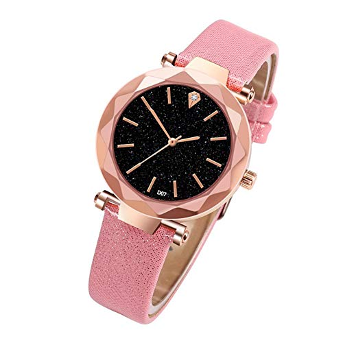 U-smile Womens Quartz Watch,Fashionable Ladies Quartz Watch with Leather Strap Black Dial Ladies Business Watch Simple Wrist Watch Wrist Jewelry for Girl Student Dial Pink Strap Watch
