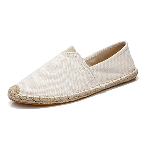 Unisex Breathable Canvas Shoes Slip-on Espadrilles Loafers Flats Shoes for Women Men Beige New EU39 (Canvas Espadrilles Beige)