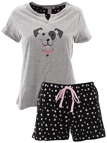 Rene Rofe Women's Dog Gray Cotton Short Pajamas XL