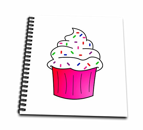 Chocolate 12x12 Album (3dRose db_43137_2 Yummy Pink Cupcake Cartoon White Frosting with Sprinkles-Memory Book, 12 by 12-Inch)