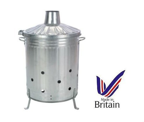 90L 90 Litre Galvanised Incinerator Fire Bin Ideal for Burning Documents / Leaves / Rubbish + FREE ASH POKER S&MC Gardenware