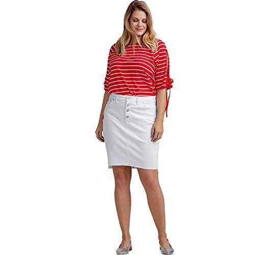 Ellos Women's Plus Size Raw High-Low Hem Denim Skirt - White, 22