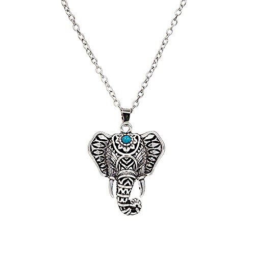 Materia African 45 cm Necklace with Pendant Rhodium-Plated 925 Silver with Turquoise Enamel # 420 30 _ B4 Jjfygqj