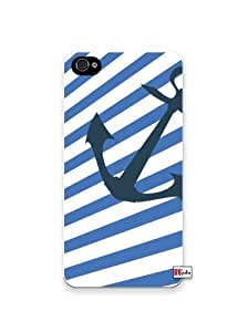 Nautical Marine Blue and White Stripes Anchor Apple Iphone 4 Quality TPU Soft Rubber Case for Iphone 4/4s - AT&T Sprint Verizon - White Case