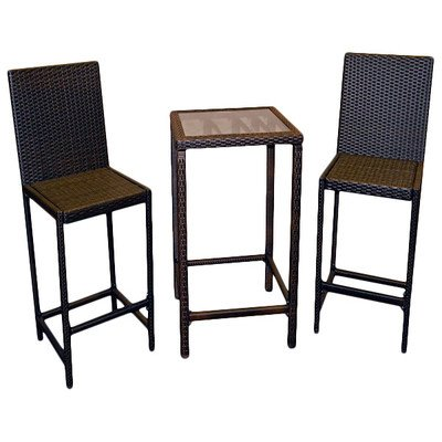 Patio Furniture/ Bar Height Bistro Dining Set, Dark Brown Resin/Wicker (3 Piece) - Assembly Required AW-226B / AW-226C. 36