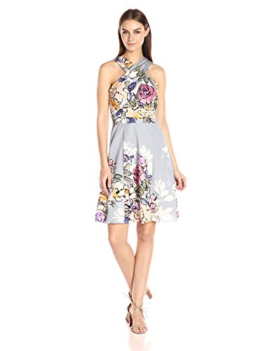 Tracy Reese Women's Criss Cross Halter Dress, Watercolor Bouquet, (Water Color Dress)