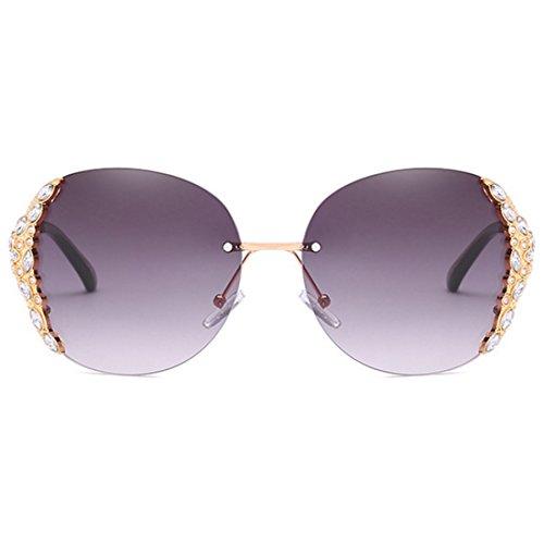 enmarcadas de diamantes de moda mujer de sol Gris sol con Gafas Gafas sol de Gafas sol Gafas marco Huicai sin de Dorado de UwYAFnq