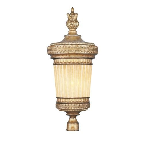Livex Lighting 8907-65 Outdoor Post with Hand Crafted Gold Dusted Glass Shades, Vintage Gold (Gold Belle Lighting)