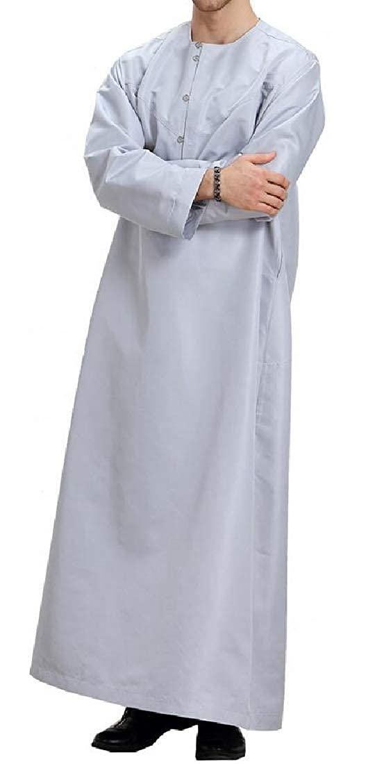 MOUTEN Mens Muslim Long Sleeve Loose Fit Thobe Arab Ramadan Solid Long Shirt